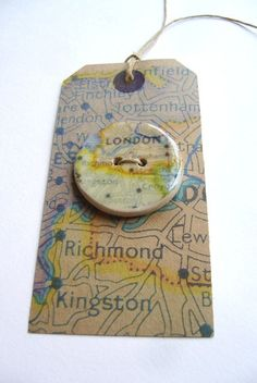 London A handmade ceramic sew on button by hodgepodgearts on Etsy