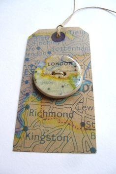 London, A handmade ceramic sew on button