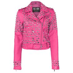Pink leather jacket with studs