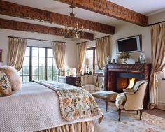 Cream, Floral, Fireplace = cozy comfort.