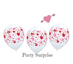 Pink and Red Hearts Balloons Diamond Clear Hearts by PartySurprise