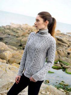 Аран ремесла Дамы женщин Шерсть Аран Кабельное вязать свитер шеи экипажа с карманами мериносовой шерсти