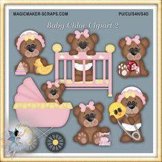 Baby Girl Teddy Bears Card Supplies Commercial by MagicmakerScraps,