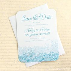 Waves Save the Date  Beach save the date Sample by ConcertinaPress