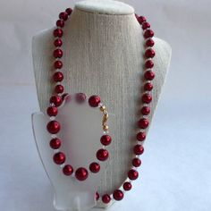 Deep Red Large Pearl and Swarovski Crystal Bicone Necklace w Bracelet | Alisuns - Jewelry on ArtFire