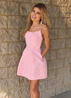 Prom Dress Fitted, Cute Short Straps Pink Homecoming Dress,Short Prom Dress with Pockets There are delicate lace prom dresses with sleeves, dazzling sequin ball gowns, and opulently beaded mermaid dresses. Homecoming Dresses Under 100, Prom Dresses With Pockets, Hoco Dresses, Backless Prom Dresses, Tight Dresses, Cute Dresses, Dresses With Sleeves, Dress Prom, Half Sleeves
