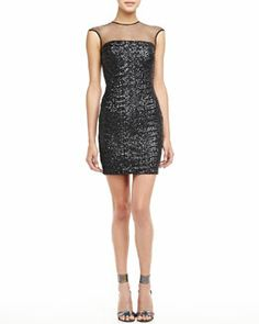 T7CRM Dress the Population Sequined Mesh-Top Dress