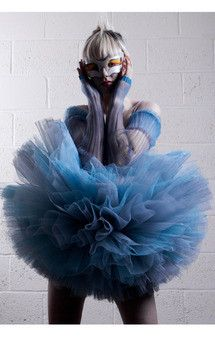 blue swan, ice puff tutu designed, dyed and constructed be me, featured on silkfred for sale in my online boutique: Wearaphilia by Magda Durka