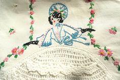 Vintage 50's/60's Southern Belle Dresser Scarf w by RosesBelles, $15.00