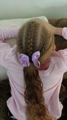 3 dutch braids into a ponytail ♡