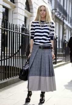 a breton top with longer length kilt