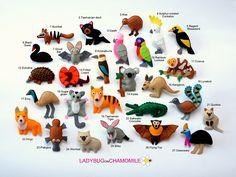 #animali australiani feltro pannolenci/   ANIMALI australiani magneti  prezzo per 1 voce in feltro