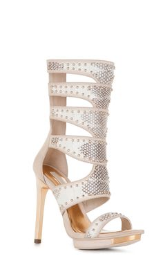 BCBG Lynx High-Heel Snake-Embossed Sandal in Natural