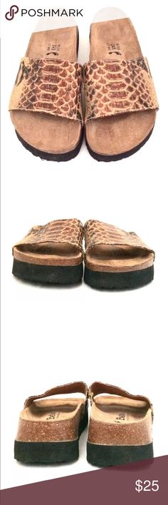 Betula Birkenstock Leather Snakeskin Sandals Sz 7 Betula By Birkenstock Leather Embossed Snakeskin Unisex Sandals In very good preowned condition. Birkenstock Shoes Sandals