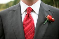 Charcoal Gray suit with red accents Photo: EyeSpy Photography