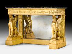"""Important console """"aux griffons"""", Empire, probably Send by FHG JACOB-Desmalter (François Honoré Georges Jacob-Desmalter, 1770-1841), Paris, about 1810/15. Sold for CHF 210 000. Photo Koller Auctions"""