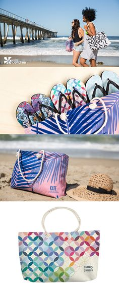 #ErinCondren Oversized totes & #Personalized #FlipFlops! Choose your design, personalization, and custom colorways (in some designs).