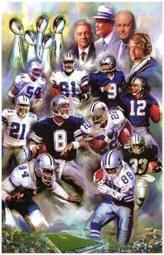 A great art poster of the players and coaches of the Dallas Cowboys NFL football… #NFLFootballBoys