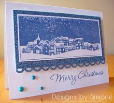 Merry Christmas Winter Town Card by Simone N - Cards and Paper Crafts at Splitcoaststampers
