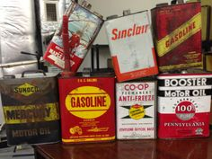 Vintage oil cans love company