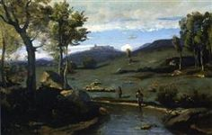 Roman Countryside Rocky Valley with a Herd of Pigs - Camille Corot