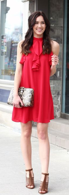 This red berry dress with halter neckline and ruffles is under $100! Perfect for spring or summer weddings!