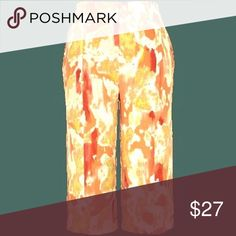 """Melissa McCarthy PLUS SIZE Pants 24W ORANGE Melissa McCarthy PLUS SIZE SEVEN7  Bright CROPPED Pants. Work weight polyester crepe.""""Cadmium Orange"""" lava lamp print is orange, yellow, and red on white.  New with Tags. Peach Multi. Size 24W. Melissa McCarthy Seven7 Pants Ankle & Cropped"""