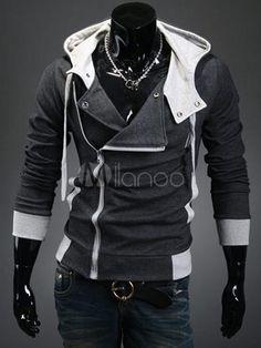Men's Zipper Polyester Hoodie