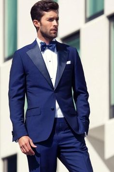 cb0a6fbe87b Hot Sale Blue Slim Fit Groom Tuxedos Two Pieces Custom Made Formal Men  Business Suit High Quality Men Wedding Suits