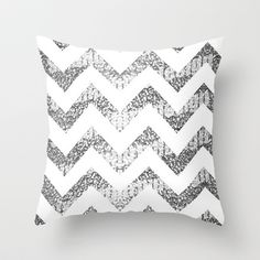 Silver Glittery Chevron Pattern Throw Pillow by Pink Berry Pattern - $20.00
