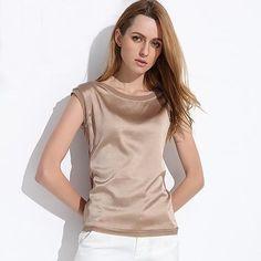 Women's Slim Chiffon Silk Blouses Sleeveless