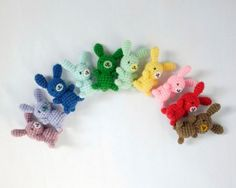 Rainbow of amigurumi bunnies