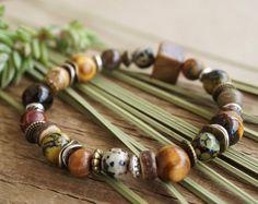 "Boho ""Harvest"" Stretch Bracelet, Bohemian Gypsy Rustic Beach Surfer Mala Yoga Meditation Coconut Wood Womens Mens Bracelet Jewelry Gift"