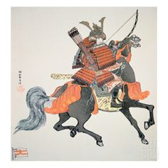 Japanese Samurai Warrior | Tattoo Ideas & Inspiration - Japanese Art | Samurai of Old Japan on Horseback, Armed with Bow and Arrows | #Japanese #Art #Samurai #Warrior #Horse