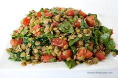Lentil Salad with Capers and Balsamic-Dijon Dressing - dry brown lentils, roma tomatoes, spinach, chives/shallot/green onion, capers, dressing (balsamic vinegar, olive oil, dijon mustard, garlic clove)