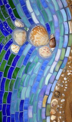 Mosaic Mixed Media Glass Shoreline Footsteps in by GlassArtsStudio