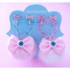Eyeball Bow Harajuku Fur Fairy Kei Pom Pom Ball Furry Kawaii Pastel... ($17) ❤ liked on Polyvore featuring accessories, fur key chain y fob key chain