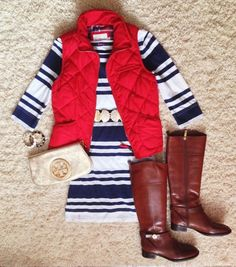 Blue and white stripped dress with boots and a red vest! So cute