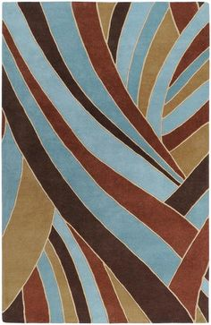 A cool and subtle brown and teal rug - Surya Forum FM7002