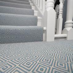 Diamond Flatweave Blue Carpet by Hartley and Tissier Grey Stair Carpet, Grey Carpet Bedroom, Carpet Staircase, Hall Carpet, Blue Carpet, Living Room Carpet, Staircase Remodel, Staircase Runner, Living Room Top View