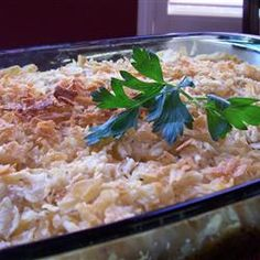 Potato Chip Chicken Casserole  Great with Durkee Onion rings mixed in to the casserole and on top
