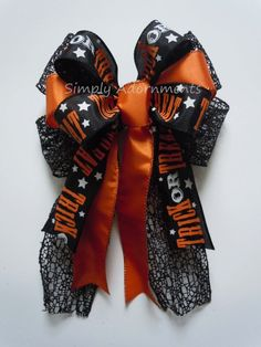 Black and Orange Trick or Treat Wreath Bow by SimplyAdornmentsss,