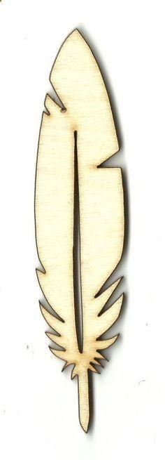 Feather Unfinished Laser Cut Wood Shape XTR3
