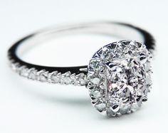Cushion Diamond Vintage Halo Engagement Rin