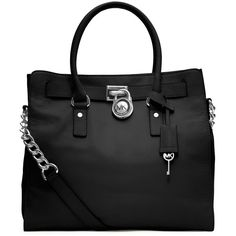 MICHAEL Michael Kors Hamilton Large Tote, Black ($358) ❤ liked on Polyvore featuring bags, handbags, tote bags, totes, michael kors, accessories, bolsas, black, leather tote handbags and black purse