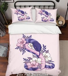 Pink Snake, Duvet Bedding Sets, Quilt Cover Sets, Soft Duvet Covers, Cover Size, Queen, Bed Pillows, Pillow Cases, Hand Sewn