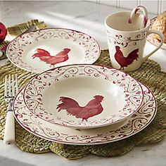 Would love something like this to showcase in a glass-front cabinet. Rooster Toile Dinnerware Set from Through the Country Door® Rooster Plates, Rooster Kitchen Decor, Rooster Decor, Red Rooster, Chicken Kitchen Decor, Dinner Plate Sets, Dinner Plates, Country Decor, Rustic Decor