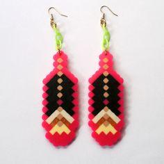 Hot Pink 8-Bit Feather Fantasy Earrings