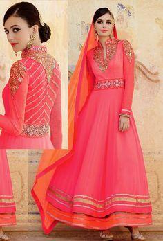 Pink peach designer anarkali suit with dupatta