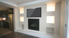 Optional Entertainment Wall c/w Gas Fireplace Insert (pot lights not included)